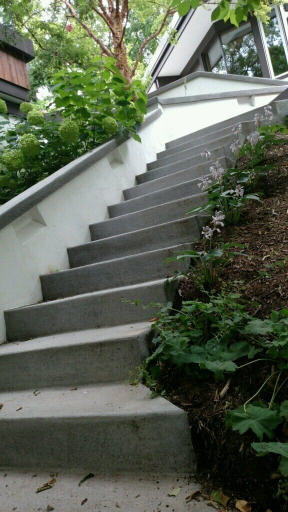 concrete stairs with plants and custom railing