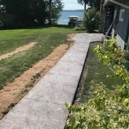 sidewalk to back of house
